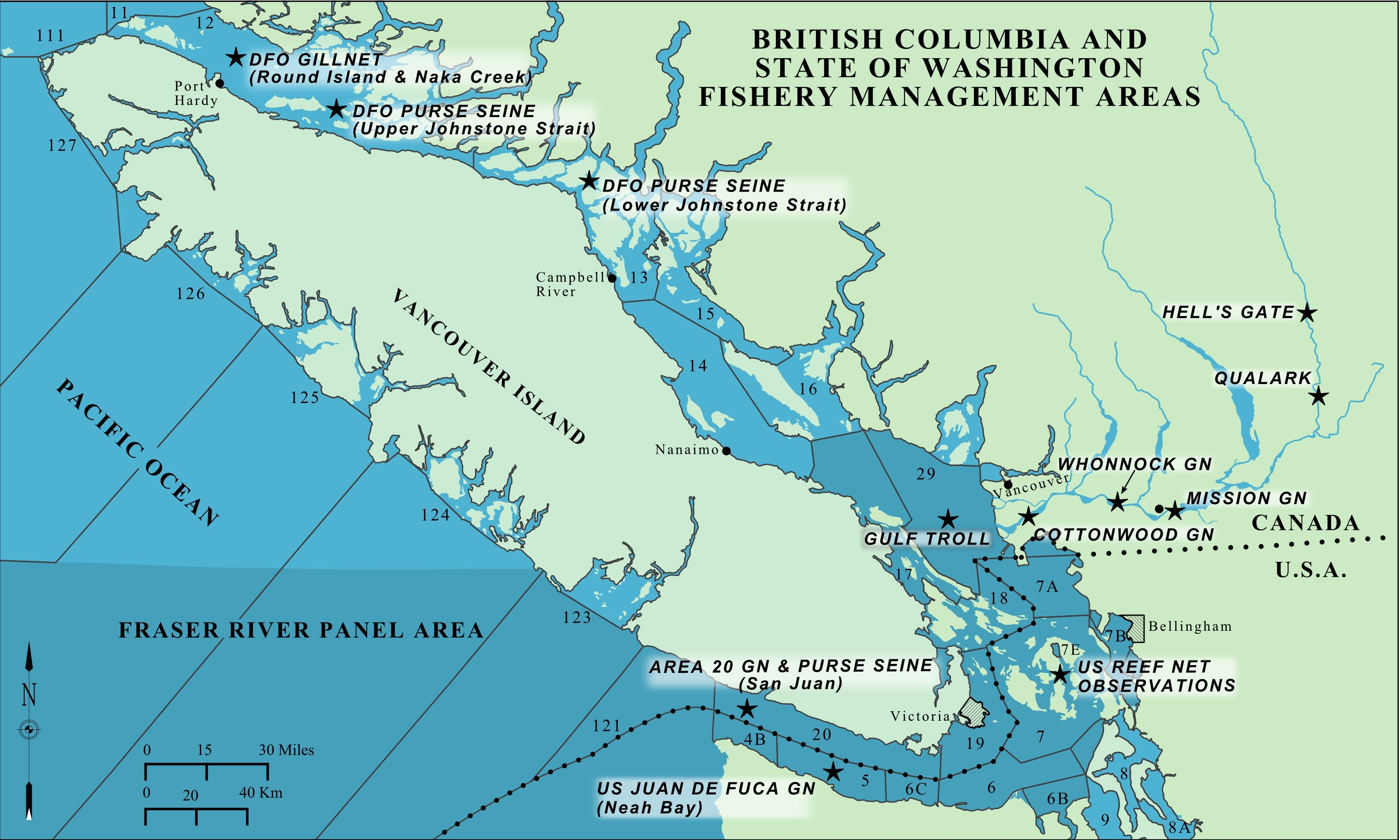 Fish by region: a selection of sites